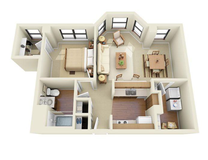 floor plan of 1 bedroom apartment