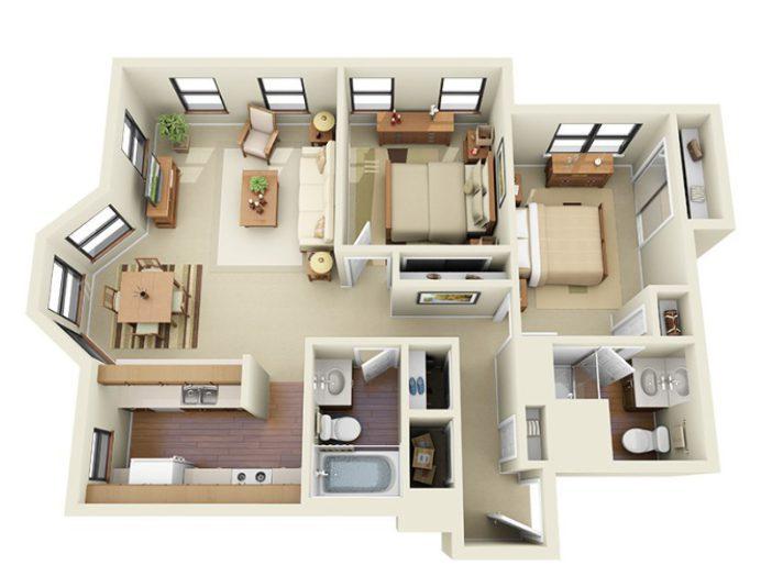floor plan of 2 bedroom apartment