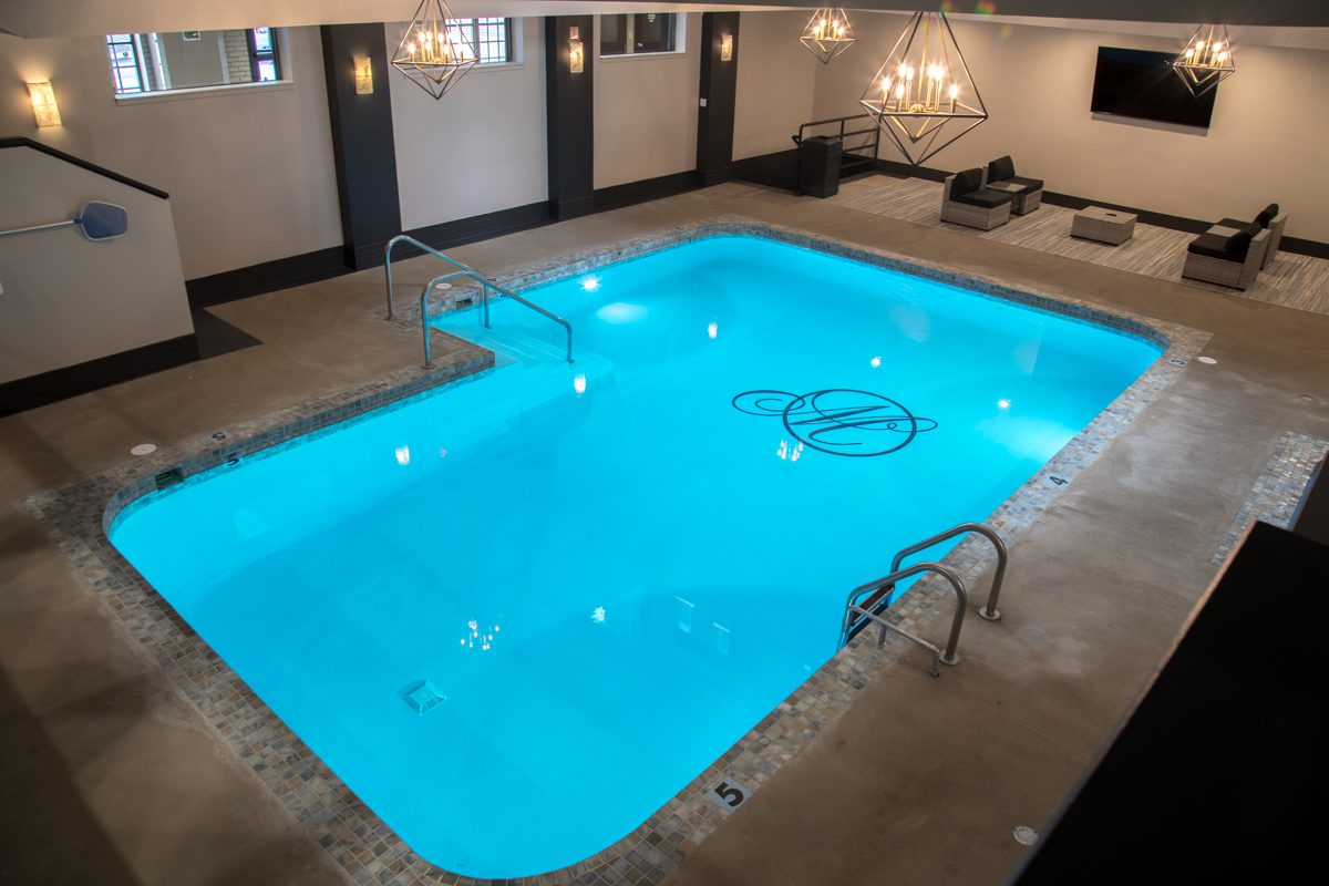 pool with monogramed M on bottom