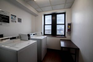 laundry room gives view to downtown