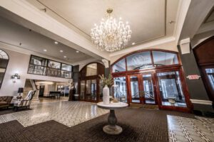 chandelier centers lobby entrance