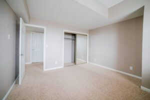 brown carpet in bedroom with mirrored sliding closet doors