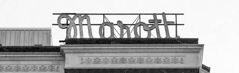 old picture of Marott signage atop building